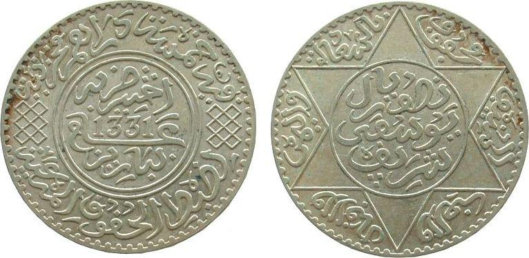 5 Dirhams 1912 Marokko Ag AH1331, Gad.52, Mulai Youssef, selten SPL.PRIX.105.00.EUROS..jpg