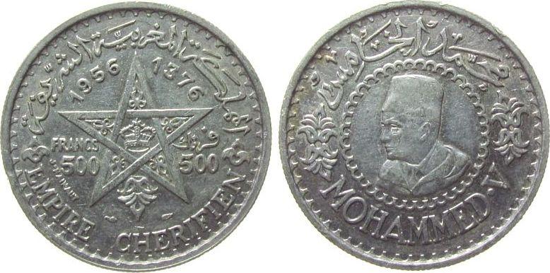 500 Francs 1956 Marokko Ag Mohammed V, kleine Randfehler SUP.PRIX.25.00.EUROS..jpg